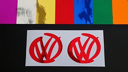 VW Swoosh Pair Volkswagen Chrome 7 Colours Vinyl Die Cut Car Van Window Bumper Funny Stickers Decals Green Chrome 200mm x 185mm