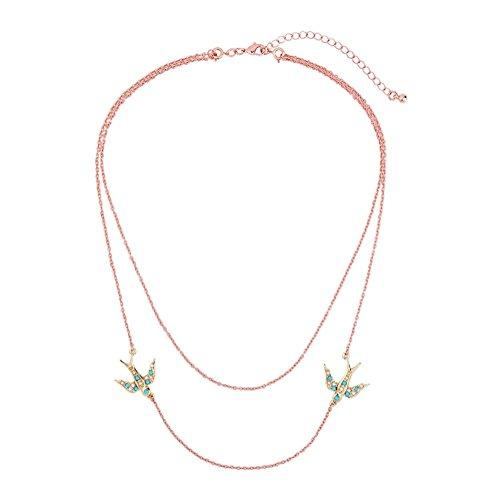 J.MeMi'S Legierung Synthetische Perle Anhänger Layered Halsketten Schwalben Tier Böhmen für Frauen Valentines Gesschenk , Gold (Tiere Layered)