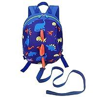 DD Toddler Boys Girls Kids Dinosaur Backpack, Cartoon Safety Anti-Lost Strap Rucksack with Reins