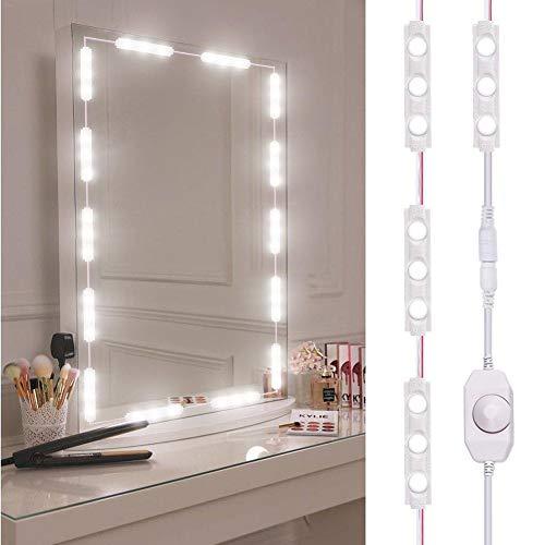 LiféUP Blanco Espejo Maquillaje con Luz, Espejo de Maquillaje para Tocadores, Espejo LED Profesional...