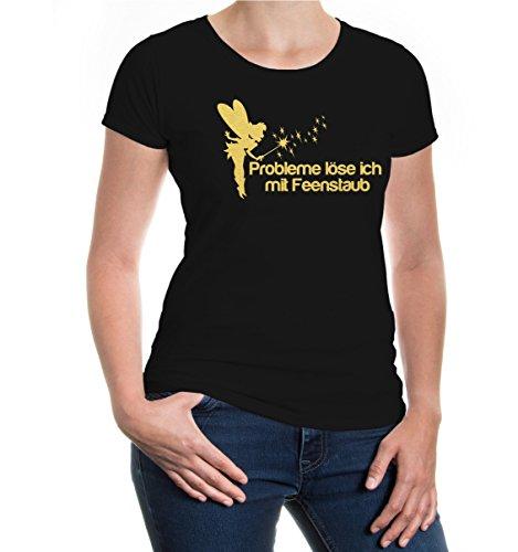 buXsbaum® Damen Kurzarm Girlie T-Shirt bedruckt Probleme löse ich mit Feenstaub | Spruch Mädchen Fee | M black-gold Schwarz (Fantasy Damen T-shirt Schwarz)