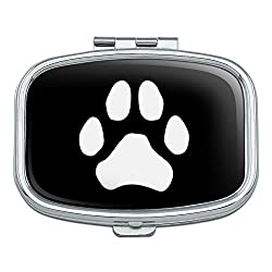 Graphics and More Paw Print Dog Cat White on Black Rectangle Pill Case Trinket Gift Box