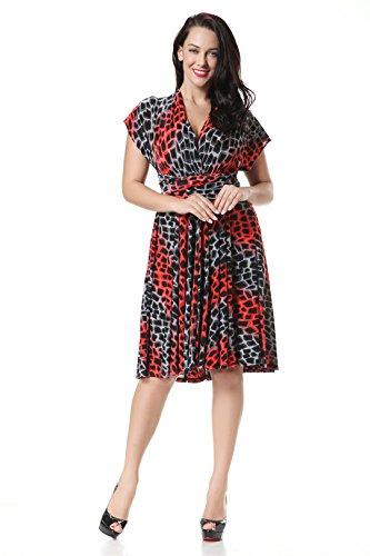 JOTHIN 2017 Nouvelle Femmes Imprimé Robe V-Cou Taille Haute épissure Irrégulier Taille Grands Mince des Robe Rouge
