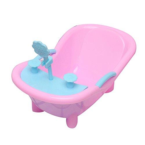 MAJGLGE Mahggle Kinder süße Dusche Badewanne 3D künstliche Spielzeug Puppenhaus Zubehör Dekoration – Rosa + Grün