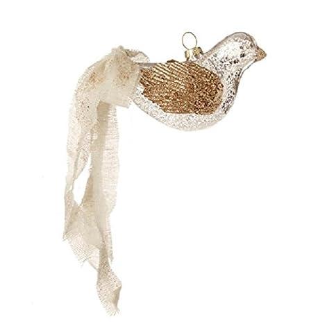 10,2cm Country Kabine silber und weiß antiqued-style Vogel aus Glas Weihnachten Ornament