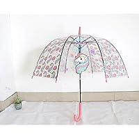 MIWEN Transparent umbrella umbrella female Korean small fresh student unicorn adult children cute cartoon long handle umbrella