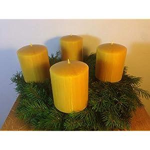 4 Stück Kerzen für den Adventskranz aus 100% Bienenwachs, 10 x 8 cm, Stumpen, handgemacht, Bienenwachskerze, gegossen…