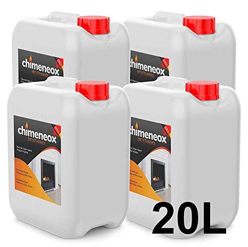 20 Litros Bioetanol 96% origen Vegetal para chimeneas - (4 garrafas de 5 litros) Combustión de alta calidad no humos