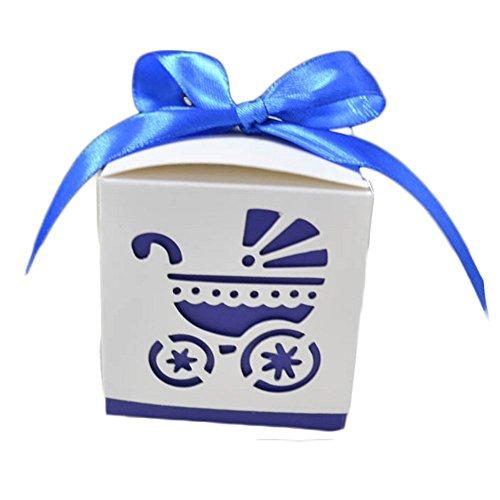 50X Toruiwa Geschenkbox Papier Pralinenschachtel Hochzeit Süßigkeiten Boxen mit Bowknot für Hochzeit Geburtstag Baby Dusche Weihnachten Taufe Kinder Party Babyparty (Blau)