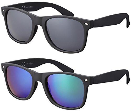 Original La Optica UV400 Verspiegelt Unisex Retro Sonnenbrillen - Doppelpack Gummiert/Rubber Schwarz...