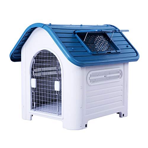 Großes, regensicheres Hundehütten-Sonnenschutzbett aus Kunststoff, strapazierfähiges Design Außen- und Innenbereich für Hunde/Katzen-Welpen, ideal für mittelgroße Hunde und Hunde,Blue -