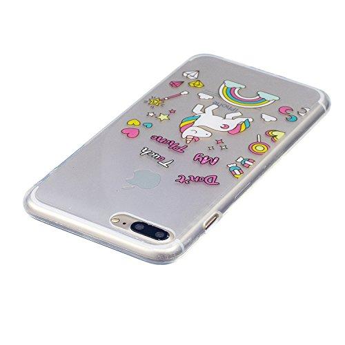 Cover iPhone 7 Plus, CaseLover Custodia per iPhone 7 Plus (5.5 Pollici) Ultra Sottile Trasparente Morbida Gomma Gel TPU Silicone Protectiva Corpeture Flessibile Cristallo Chiaro Liscio Antiurto Protez Unicorno