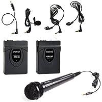 Sistema di microfoni lavalier wireless & manuali Movo WMIC60 a 2.4GHz con antenna integrata con raggio di 164 piedi (50 metri) (include trasmettitore con fermaglio da cintura, ricevitore con attacco per fotocamera, microfono manuale, microfono lavalier e 2