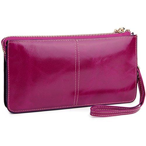 Lecxci �?Pochette da donna in vera pelle con cinturino da polso, per carte di credito, smartphone, contanti Purple