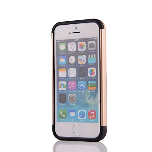 MOONCASE iPhone SE Coque, Combo Hybride Dual Layer TPU +PC Etui Antichoc Robuste Housse Protection Armure Case pour iPhone 5 / 5s / iPhone SE Argent Or