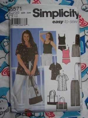 Simplicité 5571Patron de couture Pantalon pour homme Sac de Short et Maillot de bain Tankini Taille: GG pour femme 26W-32W