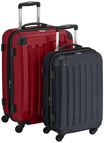 HAUPTSTADTKOFFER - Alex - 2er Koffer-Set Hartschale glänzend, 65 cm + 55 cm, 74 Liter + 42 Liter, Graphit-Blau Rot-Schwarz
