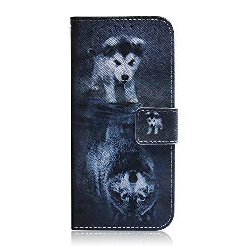 Coopay Kompatibel mit Huawei P30 Lite 6,15 Zoll Ledertasche,Slim Schutzhülle für Junge,Wolf und Hund Muster Flip Hülle,Kreditkartenhaltern Ständer Magnetverschluss Booklet Handytasche + Schlüsselband