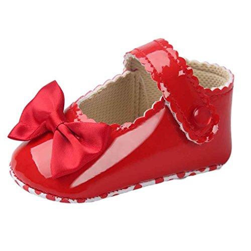 Schuhe Babyschuhe Mädchen Tanzschuhe Ballerinas Leder T-Strap Schuhe Lauflernschuhe Mädchen Krabbelschuhe Streifen-beiläufige Wanderschuhe LMMVP (Rot, 11 (0 ~ 6 Monate)) (Kind Elf Schuhe)