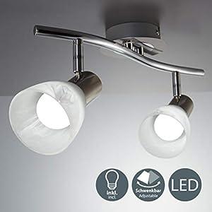 B.K.Licht LED Decken-Strahler I 2-flammig I drehbar I schwenkbar I inkl. 2x 5 W LED Leuchtmittel l Deckenlampe I…