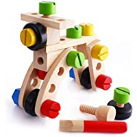 Preisvergleich für Hukangyu1231 Babyspielzeuge, pädagogische Spielwaren der Kinder Kinder Schraube Mutter Demontage Menge Blöcke 30 Stück ständig wechselnde Nuss Holz Lernspielzeug