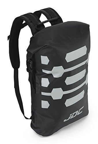 JDC Zaino da moto Dry Bag 100% impermeabile, capacità 30L - Reflector - Nero