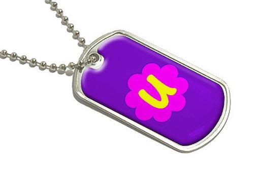 (Buchstabe U–Erste Blume–Militärische Erkennungsmarke Gepäck Schlüsselanhänger)