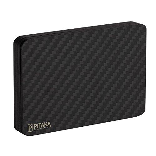 Geldbörse für Karten, PITAKA [MagWallet] Extra Dünne Magnetische Carbon Fiber/Kohlefaser Brieftasche Hochwertiges Portemonnaie Module Kreditkarten Etui Kleine Geldbeutel mit RFID-Schutz -