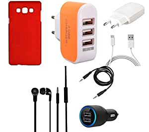 NIROSHA Cover Case Charger Headphone for Samsung Galaxy ON7 - Combo