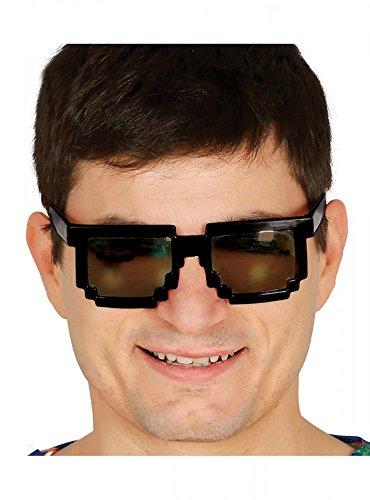 shoperama 8-bit Old School Pixel-Brille Nerd Gamer Geeks Kostüm-Zubehör Karneval Verkleidung, Farbe:Sonnenbrille