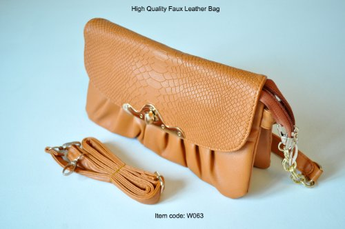 3 in 1: Clutch – Baguette – Shoulder Bag - Fine Quality Women Bag - Crocodile Patterned Faux Leather - Brown Colour