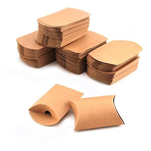 RUBY - 200 Cajas Vintage Kraft marrón a rústico Shabby envolver Almohada Cajas para Regalo Bolsas de Regalo 9cmx6.5cmx2.5cm (200) Envio desde España
