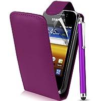 Supergets® Schlichte Einfarbige Hülle für Samsung Galaxy Y S5360 Handytasche in Lederoptik Etui Klappschale Flip Case, Mit Schutzfolie, Putztuch, Mini-Eingabestift