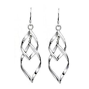 Hosaire Ohrringe Damen Ohrhänger Mode Silber Blatt Form Edelstahl Ohrring Anhänger(1 Paar)