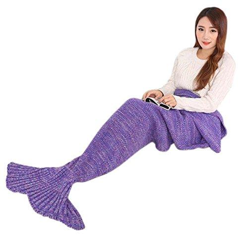 Sirena coda coperta per adulti e bambini a mano uncinetto sirena coperta super morbido anti-pelucchi sacchi a pelo Purple