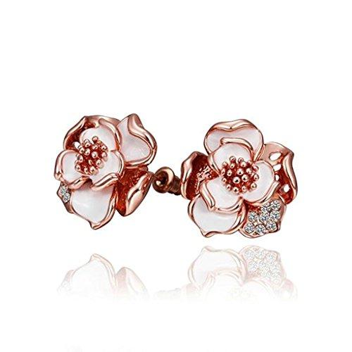BeyDoDo Schmuck 18K Vergoldet Ohrstecker für Damen Ohrringe Zirkonia Rose Weiß Tröpfchen Rosegold Ohrringe