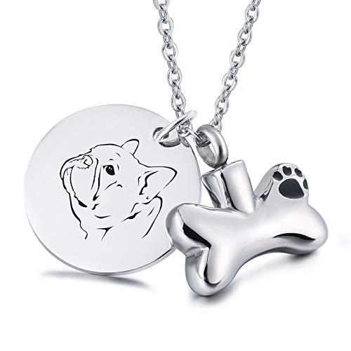 Daesar Edelstahl Anhänger Kette Silber Pfote Knochen Dog Tag mit Gravur Bulldogge Asche Halskette für Gedenk Memorial Halskette -