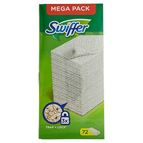 Swiffer 72 panni catturapolvere per scopa swiffer, per legno, piastrelle o pavimenti in vinile