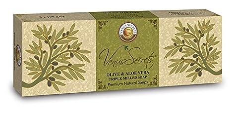 Savon à l'huile–Huile d'Olive Savon Pièces pour visage & corps–Produit Naturel–Grec de Venus Secrets cosmétique naturel–Coffret Cadeau de Luxe–Pack de 3–300g–Achetez 2et obtenez la livraison gratuit (Huile d'Olive & Aloe Vera)