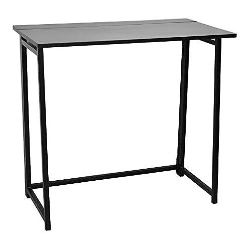 Faltbarer Tisch, Klapptisch für Computer und Laptop, platzsparend aus Holz. Schwarzer Rahmen / schwarze (Büro Platz Klapptisch)