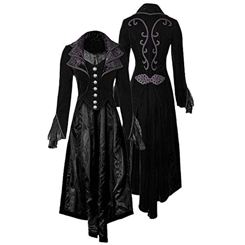 fensterladen alt Resplend Damen Steampunk Gothic Jacke Outwear Unregelmäßig Windbreaker Mode Slim Fit Trenchcoat Vintage Revers Windjacke Mantel Lange mittelalterliche Samt Overcoat