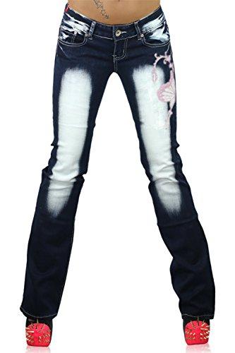 Crazy Age - Jeans - Bootcut - Femme Navy blue / Pink ( CB 035 )