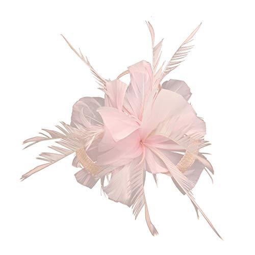 HotStyleZone Haarspange mit Federn und Mini-Hut, für Hochzeiten, Royal Ascot Race Gr. 85, hellrosa -