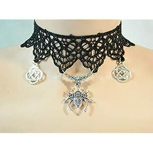 Choker Spitze schwarz Spinne Knoten Gothic Damenkette Halskette Dunkelelfe Draw