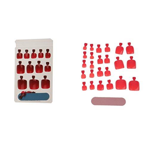 MagiDeal 48 Pièces Faux Ongles d'Orteil en Plastique avec 2 Pièces Lime à Ongles pour Décoration