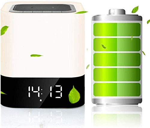 Altavoz Portátil Bluetooth exquisita Altavoz Bluetooth Reloj despertador de la lámpara llevó...