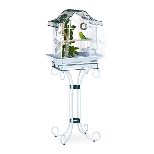 Relaxdays Vogelkäfig, mit Ständer, Wellensittich, Kanarien, Sitzstange, Futternapf, HBT 147x55x50,5 cm, grau-blau/grün -
