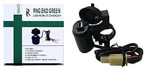 RNG EKO GREEN - Waterproof Motorcycle USB Mobile Charger - Black