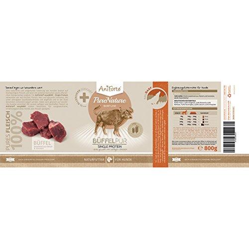 AniForte® PureNature easyBarf Single Protein 800g 100% Fleisch Hundefutter- Naturprodukt für Hunde (Büffel Pur, 6x800g) - 4