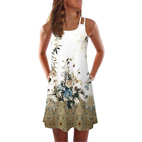 DOGZI Femmes Robe été Vintage sans Manches Imprimer Floral Retro Palace V Neck Robe de Soirée Élégant Cocktail Cérémonie Longue pour Mariage (XL, C)